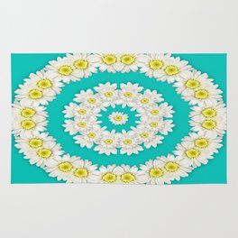 White Daisies on Turquoise Background Rug