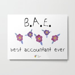 Best Accountant Ever Purple Flowers Metal Print