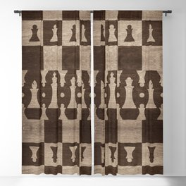 Chess Pieces Pattern - wooden texture Blackout Curtain