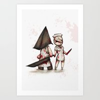 silent hill Art Prints featuring Silent Plushie Hill by Ludwig Van Bacon