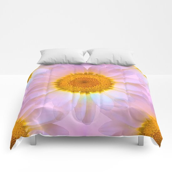 Pink Iridescent Floral Abstract Comforters