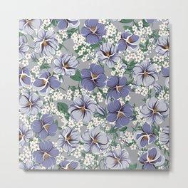 seamless pattern with viola flowers Metal Print