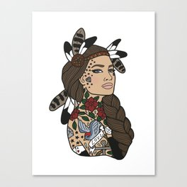Tattoos and feathers Canvas Print