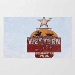 Vintage Neon Sign - The Western Motel Rug