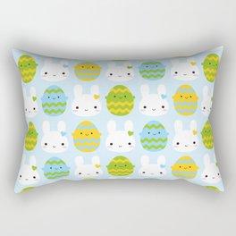 Kawaii Easter Bunny & Eggs Rectangular Pillow