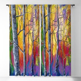 Enchanted Universe Sunset Forest Painting Blackout Curtain