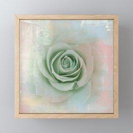 Elegant Painterly Mint Green Rose Abstract Framed Mini Art Print