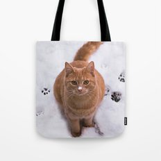 Ginger Kitty Discovers Snow! Tote Bag