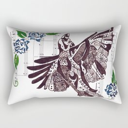 Quoth the Raven   (Raven and blue roses on sheet music) Rectangular Pillow