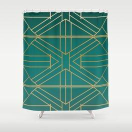 Emerald & Gold Fretwork Textile Shower Curtain