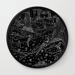 Nocturnal Animals of the Forest Wall Clock