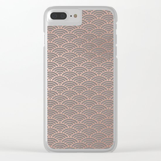 Rosegold mermaid pattern-on grey background Clear iPhone Case
