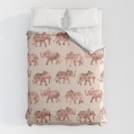 Cute Girly Pink Rose Gold Polka Dot Elephants Comforters