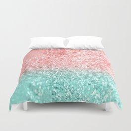 Summer Vibes Glitter #3 #coral #mint #shiny #decor #art #society6 Duvet Cover