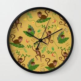 jumping cheeky monkeys yellow 03 Wall Clock