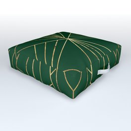 Art Deco in Gold & Green - Large Scale Outdoor Floor Cushion