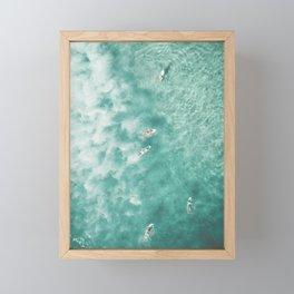 Surfing in the Ocean Framed Mini Art Print