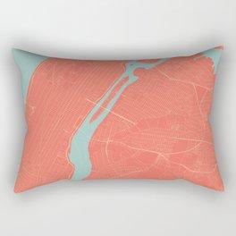 New York City Map in Coral Pink (Manhattan) Rectangular Pillow