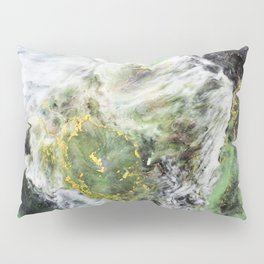 Emerald Green Marble with Gold Pillow Sham