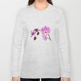 pink orchid flower watercolor painting Long Sleeve T-shirt