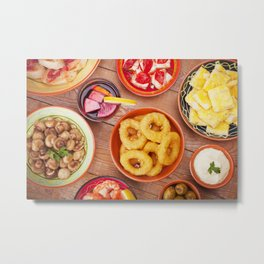 I - Assortment of Spanish tapas and sangria on a rustic table Metal Print
