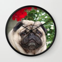 Pug with red flowers,animal print Wall Clock