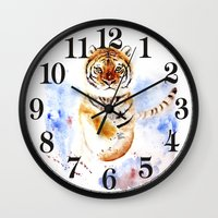 tiger Wall Clocks featuring Tiger by Anna Shell