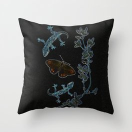 Butterfly With Geckos Throw Pillow
