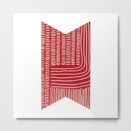Digital Stitches thick red Metal Print