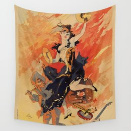 Music 1891 by Chéret Belle Epoque design Wall Tapestry