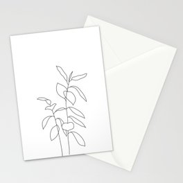 Plant one line drawing illustration - Ellie Stationery Cards