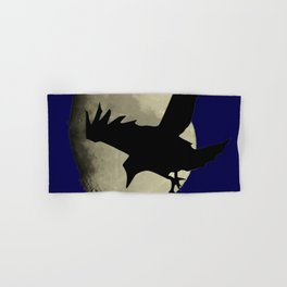 Raven Flying Across The Moon Hand & Bath Towel