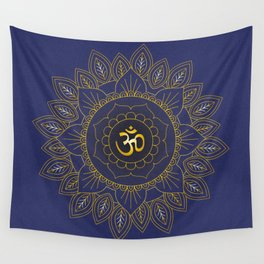 Om Symbol and Mandala in Spiritual Gold Purple Blue Violet Wall Tapestry