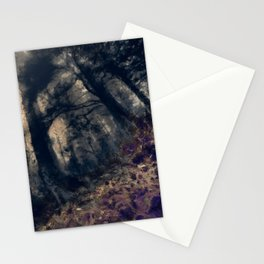 abstract misty forest painting hvhd hfall Stationery Cards