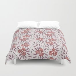 Indian flowers grey Duvet Cover