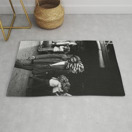 Unloading Bananas 1920s New Orleans Vintage Photograph Rug