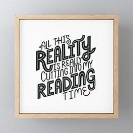 Reality Vs. Reading Time - Black Mint Framed Mini Art Print