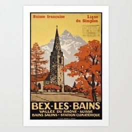 retro plakat bex les bains suisse francaise ligne du simplon bvb Art Print