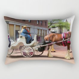 A horse-drawn carriage ride Rectangular Pillow