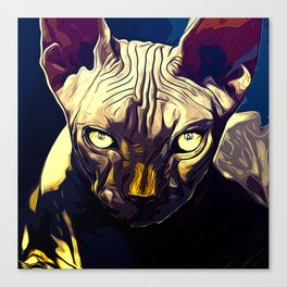 sphynx cat from hell vafn Canvas Print
