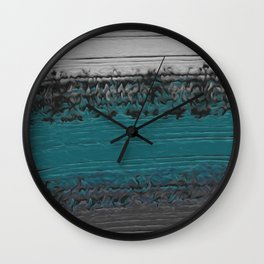 Teal and Gray Abstract Wall Clock