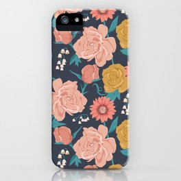 Paint by Numbers Florals on Navy iPhone Case