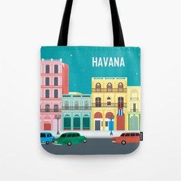 Havana, Cuba - Skyline Illustration by Loose Petals Tote Bag