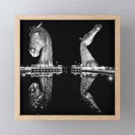 Mythological Kelpies, Horse Sculptures, The Helix, Scotland black and white photograph, 2019 Framed Mini Art Print