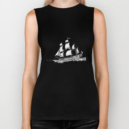 sailing ship . Home decor Graphicdesign Biker Tank