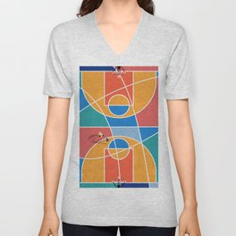 Shooting Hoops Street Basketball From Above  Unisex V-Neck