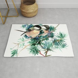 Chickadees in the Woods Rug