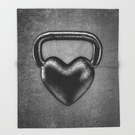 Kettlebell heart / 3D render of heavy heart shaped kettlebell Throw Blanket
