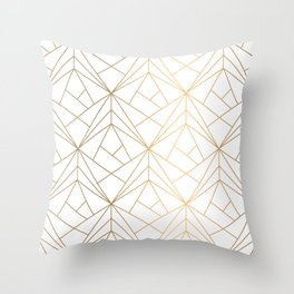 Geometric Gold Pattern With White Shimmer Throw Pillow