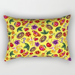 Watercolor summer pattern on yellow background Rectangular Pillow